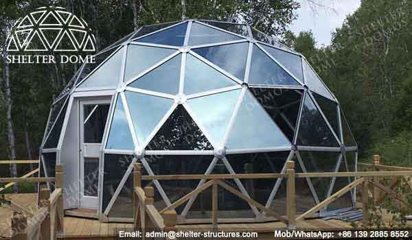 Portable Dome Tents : Glass geodesic dome performed as hotel lounge shelter