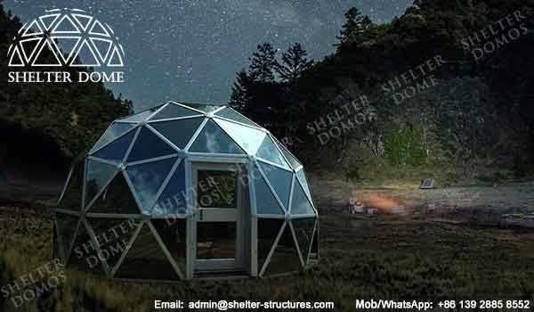 Glass Outdoor Shelter : Glass dome house for lounge geodesic garden