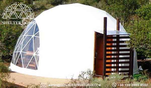 Shelter geodesic glamping tent with bay window - eco geodome house sale for resort, campsite, hotel (3)