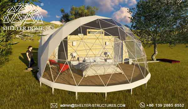Glamping Dome In Forest Area Eco Living Dome Tent With Bay Window