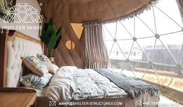 6m geodesic igloo for 2 people in glamping resort, eco campsite - full facilities design geodome tent - spherical tent with bay window -4