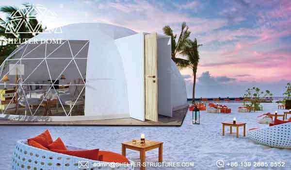 Shelter oval house for glamping living in beach side resort - elliptical dome with waterproof PVC fabric -14