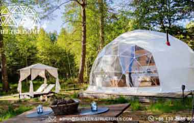 glamping dome suite with bathroom-geodesic dome house in the wood-glamping village in france (7)