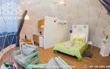 7m geodesic dome house for outdoor glamping - eco living dome with kitchen bathroom living room bed room facilities - 2 people geodome tent house for sale (4)