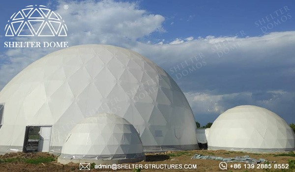 25m wedding white dome tent for sale - multiple domes with walkway tunnel (5)
