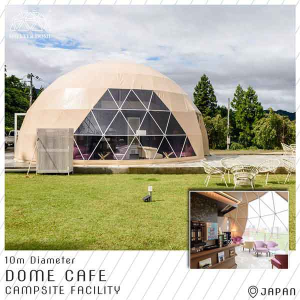 2 cafe dome serve as campsite facility - 10m dome tent for restaurant, reception center