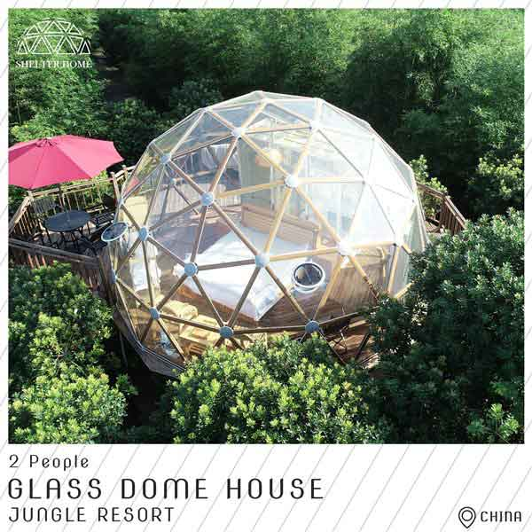 3 best quality glass dome in jungle resort - 6m geodome house for 2 people accommodation