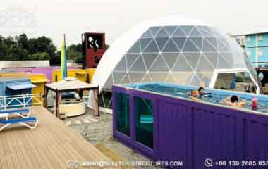 Geodesic-amusement-park-dome-tent-spherical-structure-in-theme-park-dome-aquarium-construction