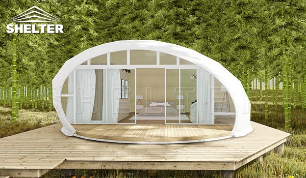 glamping pod house for sale-waterdrop dome pod for luxury resorts-eco living dome tent-glitzcamp (2)