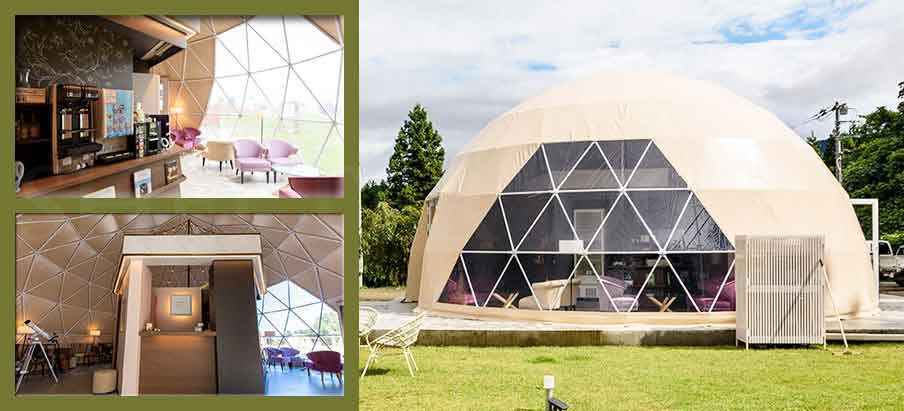 Shelter Eco Living Dome - Catering Dome as Campsite Facilities - dia. 8m 10m 15m pop up cafe dome house