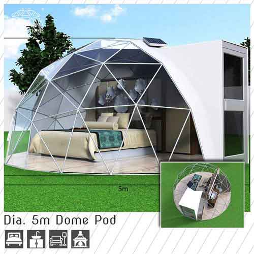 dia 5m dome pod for glamping living - 2 people geodome accommodation for sale