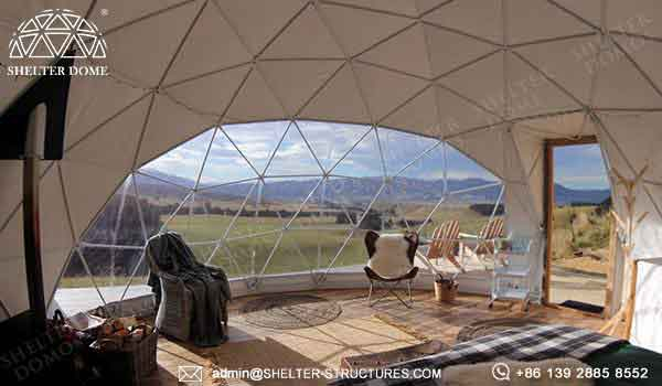dia 6m eco living dome house for sale - glamping geodome tent with bay window for 2 - 4 people accommodation