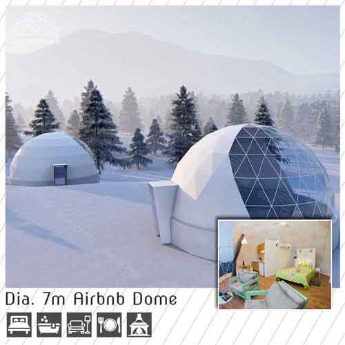 dia 7m eco dome for airbnb, booking business - 4 season glamping dome house for sale