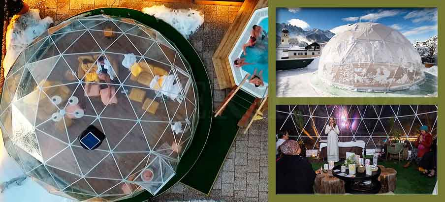 dia 7m transparent dome tent for leisure, lounge and meditation in resort, glampsite - eco dwelling dome for sale