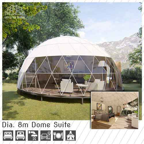 dia 8m dome suite for family trip - large eco dome house with full living facilities