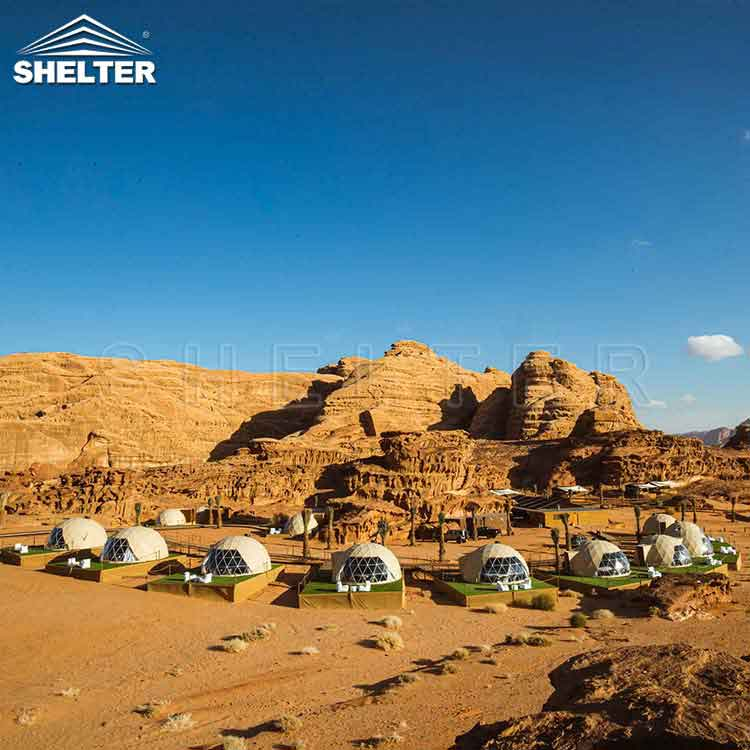 luxury glamping dome tents-glamping dome-wadi rum-palmera camp-shelter dome-shelter domos