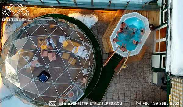 shelter eco living dome with transparent pvc membrane for sale - lounge dome house for resort, glampsite, campsite