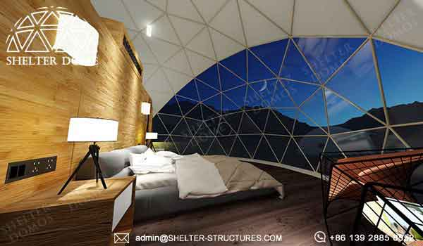 dia. 6m glamping dome with luxury decoration