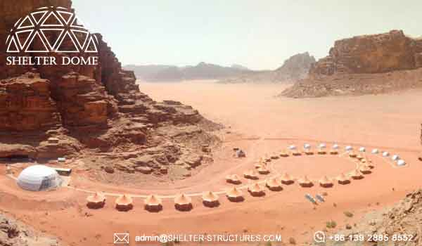 dome tent solution on desert area - glamping resort solution from Shelter Dome