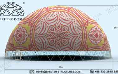 35m geodesic dome design of middle east style - pvc printing of dome tent in Shelter Dome