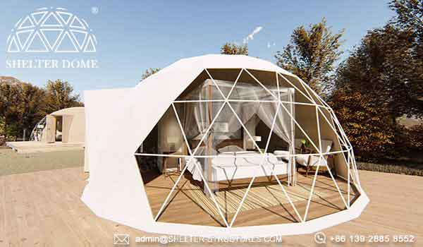 6m glamping dome pod for campsite resort in prairie countryside forest - glamping dome house suite for 2 people, family (5)