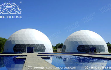 large dome tents-25m wedding white dome tent for sale - multiple domes with walkway tunnel (7)