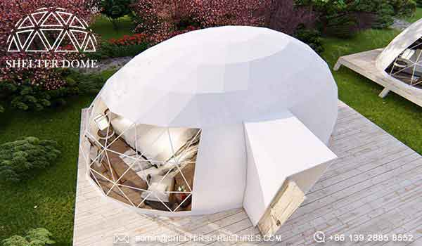 7m oval dome house for glamping living - geodesic dome structure for 2 3 4 people (18)