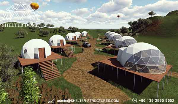 dia. 6m glamping dome for sale - geodome tent for jungle resort, hotel, campsite - 2 person accommodation glamping dome